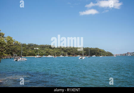 Sydney, New South Wales,Australia-December 21,2016:  Sailboats and catamarans anchored in the North Shore harbour in Sydney, Australia - Stock Photo