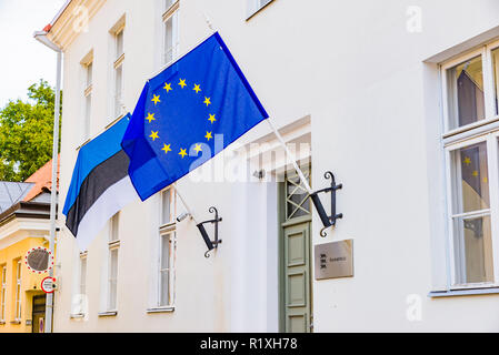 Official government building with the flags of Estonia and the European Community. Tallinn, Harju County, Estonia, Baltic states, Europe. - Stock Photo
