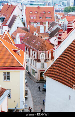 The old city of Tallinn seen from a lookout on Toompea hill. Tallinn, Harju County, Estonia, Baltic states, Europe. - Stock Photo