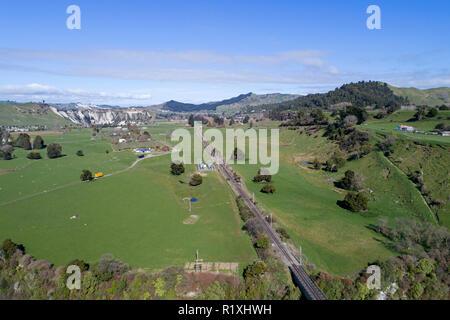 Mangaweka Railway Viaduct and farmland, near Mangaweka, Rangitikei, North Island, New Zealand - aerial - Stock Photo