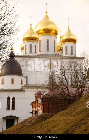 Uspensky orthodox Cathedral sobor with golden domes, Dmitrov, Moscow region, Russia - Stock Photo