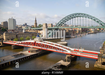 Newcastle/England - June 27th 2014: Swing bridge and Tyne with yachts on Quayside - Stock Photo