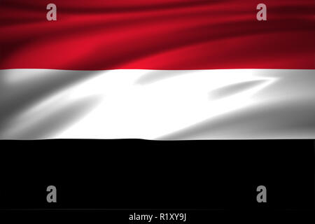 Yemen 3D waving flag illustration. Texture can be used as background. - Stock Photo
