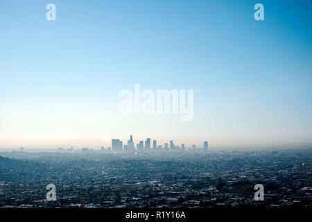 Los Angeles, USA - September 13, 2014. Overlooking the endless city of Los Angeles with its skyline in the background. - Stock Photo