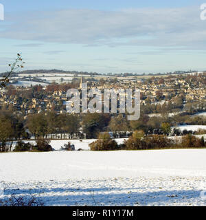 England, Gloucestershire, Cotswolds, winter view towards Painswick from Bulls Cross - Stock Photo