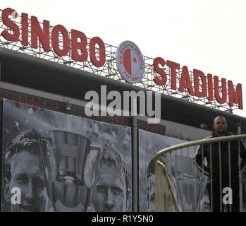 Prague, Czech Republic. 15th Nov, 2018. Czech soccer team SK Slavia Praha renamed its home stadium Eden Arena in Prague, Czech Republic, to Sinobo Stadium. The stadium will be named after a Chinese company, which will shortly enter the club's ownership structure. On the photo is seen the stadium with the new name in Prague, Czech Republic, on November 15, 2018. Credit: Michal Kamaryt/CTK Photo/Alamy Live News - Stock Photo