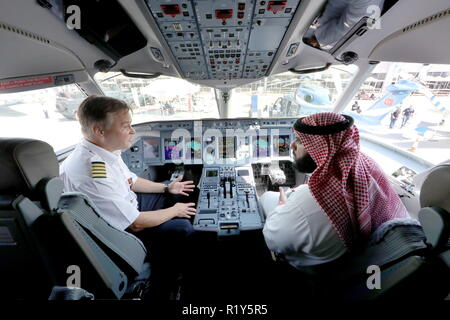 Bahrain. 15th Nov, 2018. BAHRAIN - NOVEMBER 15, 2018: The cockpit of a Sukhoi Superjet 100 aircraft (SSJ100) of the Yamal Airlines at the 2018 Bahrain International Air Show at the Sakhir air base in Bahrain. 33 military delegations from 19 countries and 20 civilian ones from 35 countries take part in the show. Sergei Savostyanov/TASS Credit: ITAR-TASS News Agency/Alamy Live News - Stock Photo