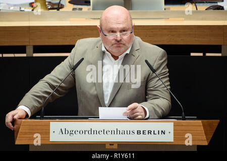 Berlin, Germany. 15th Nov, 2018. Harald Laatsch (AfD), Member of Parliament, spoke during a sitting of the Berlin House of Representatives in the Chamber. Among the topics of the 33rd session will be a debate on housing and rents policy and a question and answer session for the senators. Credit: Gregor Fischer/dpa/Alamy Live News - Stock Photo