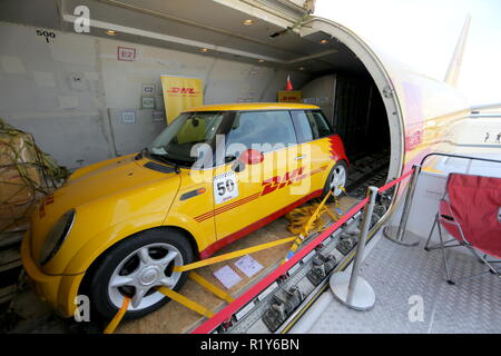 Bahrain. 15th Nov, 2018. BAHRAIN - NOVEMBER 15, 2018: A car aboard a Boeing 767 aircraft of the DHL Aviation at the 2018 Bahrain International Air Show at the Sakhir air base in Bahrain. 33 military delegations from 19 countries and 20 civilian ones from 35 countries take part in the show. Sergei Savostyanov/TASS Credit: ITAR-TASS News Agency/Alamy Live News - Stock Photo