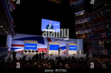 FILE: 15th Nov 2018. British Brexit Secretary Dominic Raab resigned on Thursday, saying that he cannot support the draft Brexit agreement between London and Brussels. London, UK. PICTURED: Dominic Raab delivering his keynote speech during the Conservative Party annual conference 2018 in Birmingham, Britain,1st Oct, 2018. Credit: Han Yan/Xinhua/Alamy Live News - Stock Photo