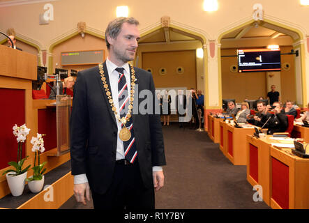 Prague, Czech Republic. 15th Nov 2018. Pirate Zdenek Hrib was elected the new mayor of Prague, winning support of 39 out of 65 the members of the Assembly at its constituent meeting in Prague, Czech Republic, November 15, 2018. Credit: Katerina Sulova/CTK Photo/Alamy Live News - Stock Photo