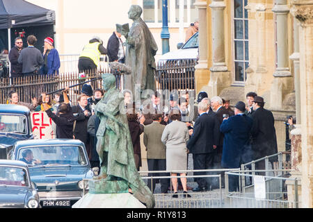 Aberystwyth, Wales, UK, 15th November 2018. Cast and crew on set of the award winning series 'The Crown' , filming the scene of the arrival of Prince Charles at Aberystwyth university in 1969 on the eve of his investiture as Prince of Wales later that year in Caernarfon Castle.  Actor Josh O'Connor, playing the part of the Prince in series three and four, is best known for his portrayal of  Johnny Saxby in the film God's Own Country, for which he won a British Independent Film Award for Best Actor.   Credit: keith morris/Alamy Live News - Stock Photo