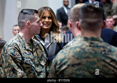 Washington, DC, USA. 15th Nov, 2018. U.S. First Lady Melania Trump smiles while greeting Marines with U.S. President Donald Trump, not pictured, at Marine Barracks in Washington, DC, U.S, on Thursday, Nov. 15, 2018. President Trump and the First Lady are meeting with Marines who responded to a building fire at the Arthur Capper Public Housing complex on September 9, 2018. Credit: Andrew Harrer/Pool via CNP | usage worldwide Credit: dpa/Alamy Live News - Stock Photo