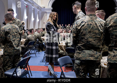 Washington, District of Columbia, USA. 15th Nov, 2018. First Lady Melania Trump, center, greets Marines with United States President Donald J. Trump, not pictured, at Marine Barracks in Washington, DC, U.S, on Thursday, Nov. 15, 2018. President Trump and the First Lady are meeting with Marines who responded to a building fire at the Arthur Capper Public Housing complex on September 9, 2018. Credit: Andrew Harrer/Pool via CNP Credit: Andrew Harrer/CNP/ZUMA Wire/Alamy Live News - Stock Photo