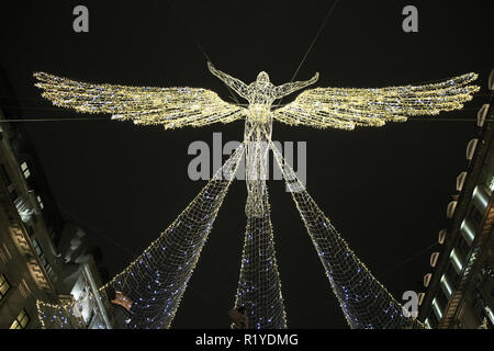 Regent Street, London, UK, 15th Nov 2018. The official 'switch-on' of the largest lights installation in the capital, Regent Street's 'The Spirit of Christmas' is celebrated once again. Credit: Imageplotter News and Sports/Alamy Live News - Stock Photo
