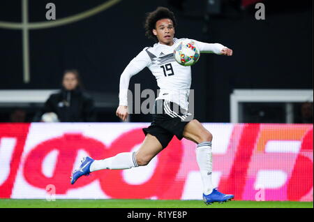 Leipzig, Germany. 15th Nov, 2018. LEIPZIG, GERMANY - NOVEMBER 15, 2018: Germany's Leroy Sane in a football friendly between the national men's football teams of Germany and Russia at Red Bull Arena (Zentralstadion). Sergei Bobylev/TASS Credit: ITAR-TASS News Agency/Alamy Live News - Stock Photo