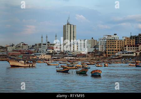 Photo of Palestinian fishermen boats, at Gaza seaport - Palestine. - Stock Photo