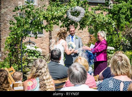 Garden Wedding celebration in England UK during the summer of 2018 - Stock Photo