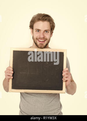 empty blackboard in hand of man or businessman standing isolated on white background, copy space - Stock Photo