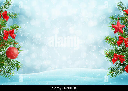 Green Christmas tree with red decorations. Free space in the middle for text. Snow falling, light and bokeh. Christmas greeting card concept. - Stock Photo