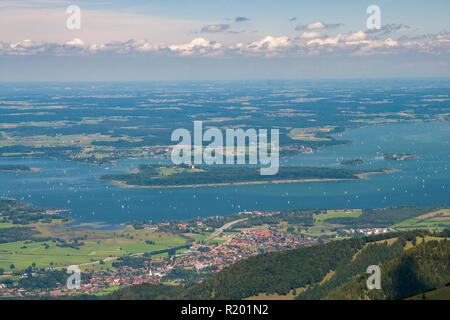 Lake Chiemsee with Herreninsel, Krautinsel und Fraueninsel seen from the mountain Kampenwand. Bavaria, Germany - Stock Photo
