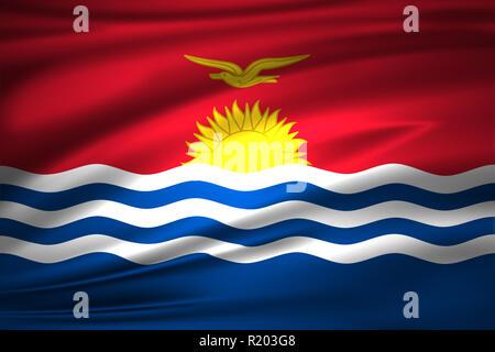 Kiribati 3D waving flag illustration. Texture can be used as background. - Stock Photo