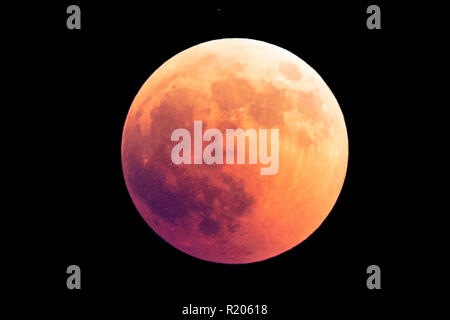 27 July 2018, Amazing picture of the Lunar Eclipse in Sardinia, Italy. - Stock Photo