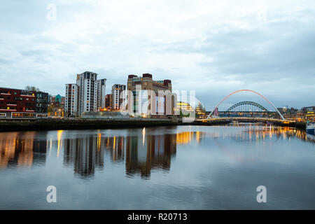 Newcastle upon Tyne/England - April 9th 2014: Newcastle River famous 5 bridges view at dusk - Stock Photo
