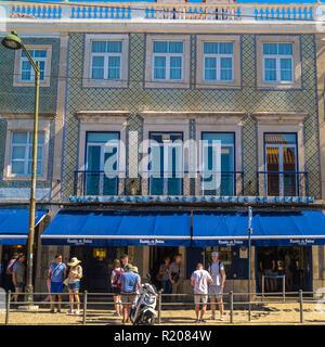 Pasteis de Belem is famous for its Pasteis de Nata cakes ,Lisbon,Portugal,Europe - Stock Photo