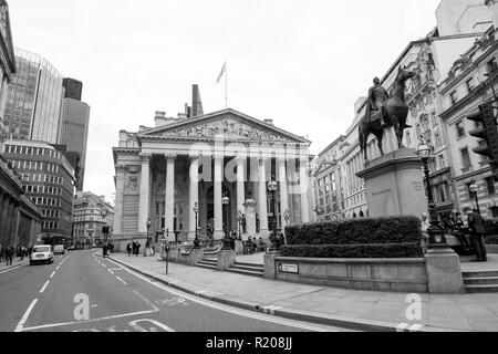 London/England - 06.03.2014: London Equestrian statue of the Duke of Wellington, City of London at Bank Junction - Stock Photo