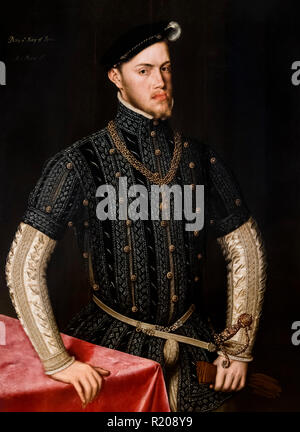 King Philip II of Spain (1527-1598) by Sir Anthonis Mor (1c.1518-1576), oil on oak panel, c.1549-50 - Stock Photo