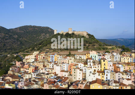 Aerial view of the beautiful village of Bosa with coloured houses. Bosa is located in the north-west of Sardinia, Italy. - Stock Photo