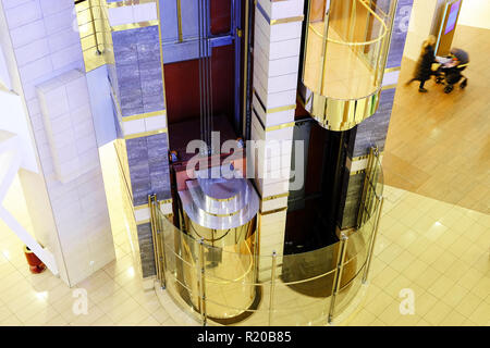 Elevator to the Mall. glass in the shape of a hemisphere. - Stock Photo