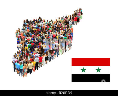 Map of Syria consist of different people isolated on white background. Syrian flag. National flag of Syria. Social people. Syrian Arab Republic - Stock Photo