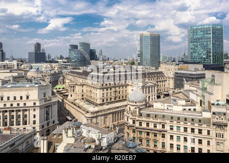 Rooftop skyline view of the Bank of England, Threadneedle Street, City of London, EC2 with Angel Court and Moor House behind - Stock Photo