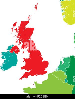 Brexit map of United Kingdom. Vector illustration template for wall art and marketing in square format. - Stock Photo
