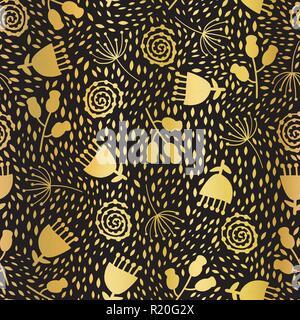 seamless pattern gold foil tulip flower vector background elegant golden florals on black backdrop