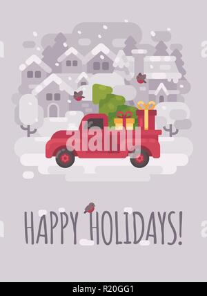 Old red farm truck with a Christmas tree and presents in a winter village. Christmas greeting card flat illustration. Happy holidays - Stock Photo