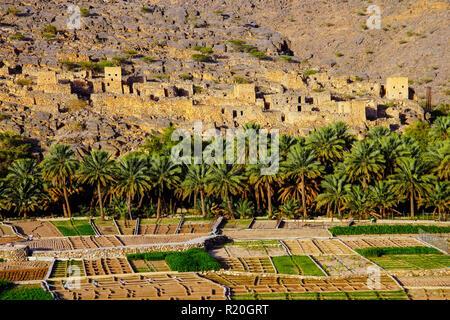 View of Ghul ghost village, Al Hamra, Oman. - Stock Photo