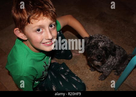 Close up of red headed boy with freckles rubbing his small black dog - Stock Photo