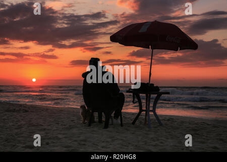 Silhouette  PHOTO Of Man and his domestic cat at Gaza beach during sunset time - Stock Photo