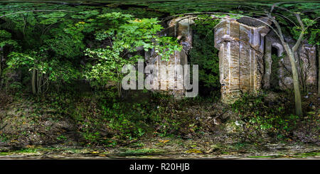 Full 360 degree panorama in equirectangular spherical projection in ancient tomb in the night forest. VR content - Stock Photo