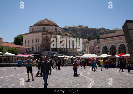 tourists in plateia monastiraki athens greece - Stock Photo