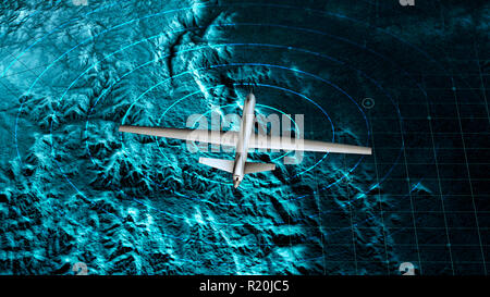 Satellite view of a military drone flying over a war zone, war operations, night vision. Military target. Undercover operation. Mountain reliefs - Stock Photo