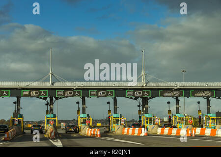 SECOND SEVERN CROSSING, WALES - NOVEMBER 2018: Row of booths on the M4 motorway in Wales to collect the toll charges from drivers using the Second Sev - Stock Photo