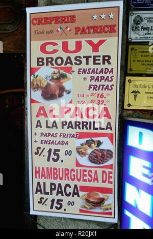 Restaurant in HUARAZ. Department of Ancash.PERU                     - Stock Photo