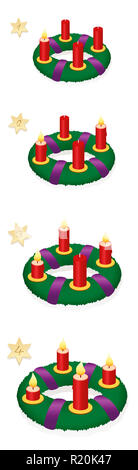 Advent wreath with one, two, three, four burning red candles in chronological order on first, second, third and fourth Sunday of Advent. - Stock Photo