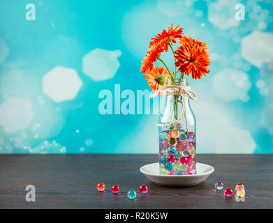 Water crystal gel or water beads is any gel which contains a large amount of water. Different color fun jelly water bead in a vase, decoration. - Stock Photo