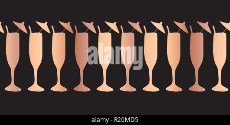 copper foil champagne flute seamless vector pattern border rose gold cocktail glasses on black background