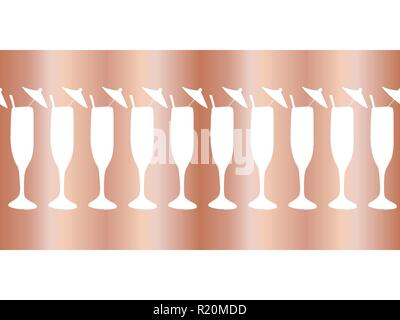 new year copper foil champagne flutes seamless vector pattern border cocktail glasses on rose gold background